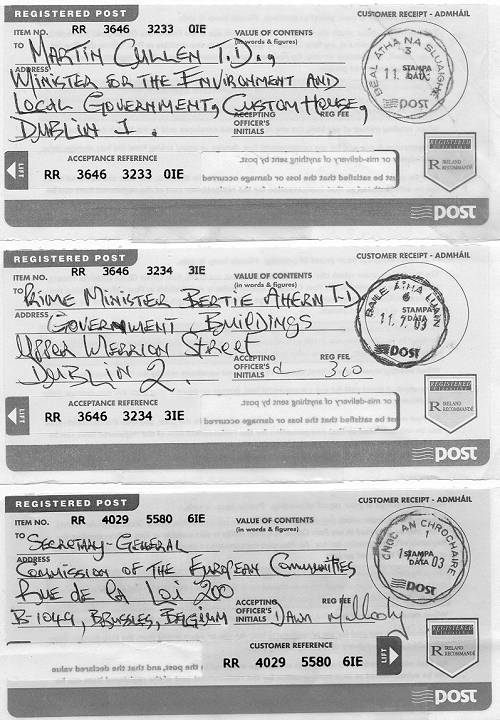 Post Office receipts for 3 registered letters (all dated July 11th 2003) requesting an investigation into corruption.