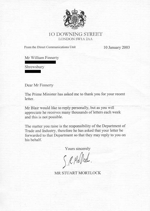 Scanned copy of letter from 10 Downing Street, London (dated January 10th 2003).